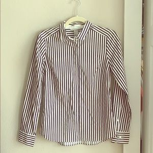 Navy and white striped dress shirt.